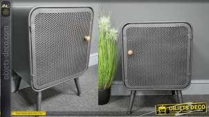 Table de chevet en métal finition gris atelier, de style industriel, compartiment monté sur pieds, 59cm