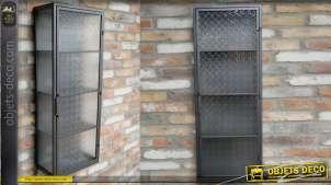 Grande vitrine murale en métal et verre, style industriel et rétro, 4 étages de rangement, 100cm