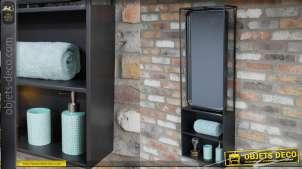 Miroir étagère de salle de bain, en métal finition noir mat, de style moderne, glace pivotante, 120cm