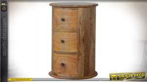 Table de chevet tambour à trois tiroirs en manguier massif vieilli 58 cm