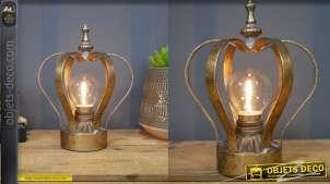 Lampe de chevet portable en métal pour princesse en forme de couronne, finition vieux doré 19cm