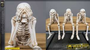 Statuettes de squelettes de la sagesse en résine, finition effet ancien, genoux amovibles, 22cm