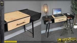 Bureau de style industriel en métal finition noir et bois de sapin effet brut, un tiroir central et deux rangements latéraux, 120cm