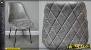 Chaise de salle à manger en métal et effet cuir, finition anthracite métallisé assise et dossier capitonnés, 85cm