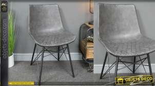 Chaise de style moderne finition gris anthracite et structure en métal noir mat, effet cuir et base esprit design, 83cm