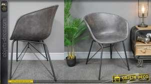 Fauteuil de salle à manger en métal et revêtement effet cuir anthracite, de style industriel moderne,  79cm