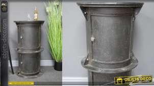 Meuble d'appoint à deux portes en métal, esprit vieux conduit de fumée d'usine, collerette et rivets, 91cm