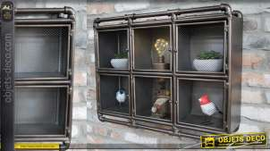 Grande unité de stockage murale en métal de style industriel, 6 compartiments avec portes grillagées, 70cm