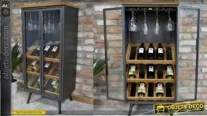 Meuble vitrine style bodega en métal bois et verre, exposition de bouteilles et rangement de verre, 108cm de haut