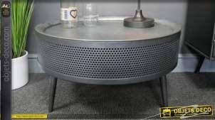 Table basse en métal style ancien tambour de machine à laver, plateau amovible, finition gris acier, 62cm