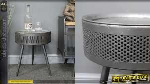 Table auxiliaire en métal finition anthracite, esprit tambour de machine à laver monté sur pieds, 46cm