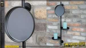 Etagère de salle de bain murale de 2 niveaux avec miroir en partie haute, en métal finition noir mate, 80cm