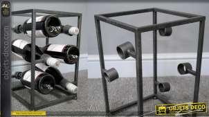 Casier à bouteilles en métal de style contemporain, finition anthracite foncé mate, pour 6 bouteilles, 37cm