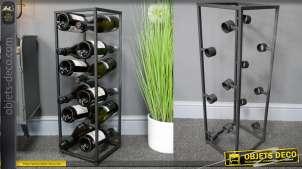 Support en métal pour le rangement de 12 bouteilles de vin, en métal finition gris anthracite, 71cm de haut