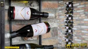 Très grand porte-bouteilles de vin version murale en métal, pour 15 bouteilles, finition gris foncé anthracite, 169cm de haut