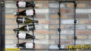 Support mural pour exposition de bouteilles de vin, en métal finition gris anthracite foncé, pour 6 bouteilles, 69cm