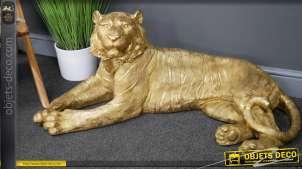 Grande statue d'un tigre royal du Bengale, en résine finition doré brillant et mate, style intemporel, 100cm