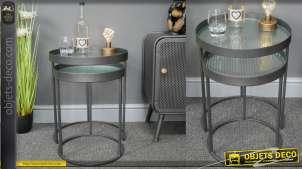 Ensemble de deux tables gigognes en métal et verre ondulé transparent, finition anthracite foncé, 50cm