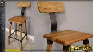 Chaise de bar en bois d'orme massif et touches de métal, finition naturel et noir acier, esprit rustico moderne, 104cm