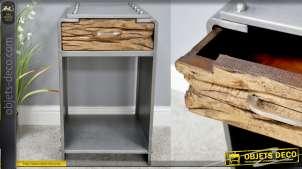Table de chevet en métal et tiroir en bois, style industriel avec rivets apparents, finition effet brossé, 68cm