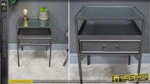 Table de chevet en métal finition anthracite gris, plateau en verre effet ondulé, tiroir central, esprit linéaire, 60cm