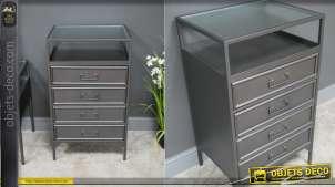 Meuble d'entrée en métal finition gris acier, plateau en verre ondulé et 4 tiroirs de rangements, 85cm de haut