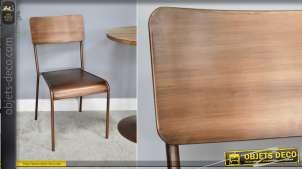 Chaise en métal de style rétro industriel, patine effet cuivre brossé, collection Cooper, 85cm