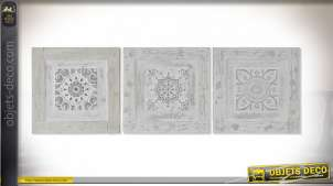 TABLEAU TOILE PIN 30X3X30 CARRELAGE RELIEF 3 MOD.