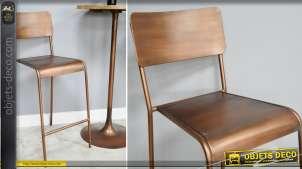 Chaise haute de bar en métal finition effet cuivre brossé, avec dossier esprit vintage rétro, 106cm de haut