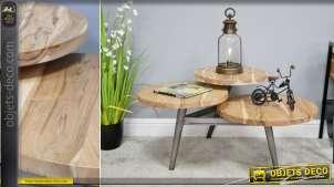 Table basse destructurée en bois d'acacia massif et en métal finition anthracite, de style contemporain, 90cm