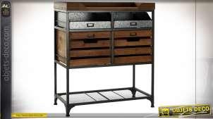 Console à tiroirs en bois finition naturel et métal esprit vieux zinc, de style industriel, 91cm de hauteur