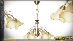Lustre doré vintage à 5 bras avec réflecteurs tulipes sépia en verre fondu Ø 57 cm