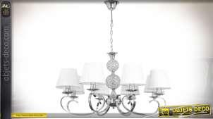 Lustre 8 points lumineux en métal chromé et verre avec abat-jour blancs
