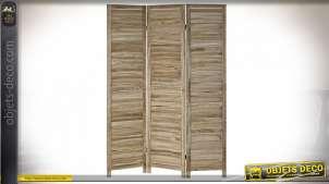 Grand paravent en bois finition claire, richement veiné et texturé, de style rustique, 170cm