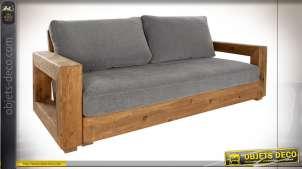 Canapé gris deux places en bois de pin finition naturelle style chalet rustique
