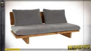 Canapé gris deux places en bois de pin recyclé finition naturelle esprit alpin