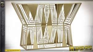 Console style art déco en métal finition dorée, plateau en miroir, 80cm