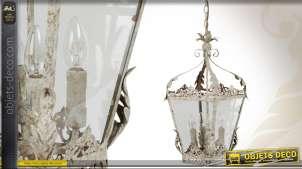 Suspension lanterne rétro électrifiée à 4 feux