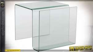 TABLE AUXILIAIRE VERRE 47,5X42X37,5 PORTE-REVUES