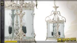 Lanterne ronde verre et métal blanc antique 4 feux