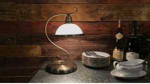 Lampe de salon ou de bureau vintage finition bronze doré et crème 40 cm