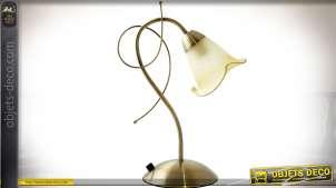 Lampe vintage métal doré avec réflecteur tulipe verre opalescent crème clair 37 cm