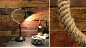 Lampe de bureau en métal noir et corde de chanvre tressée 50 cm