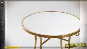 TABLE AUXILIAIRE MÉTAL MIROIR 50X65 DORÉ