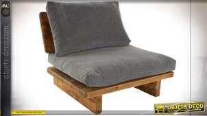 Fauteuil gris en bois de pin recyclé, finition effet naturel de style montagnard