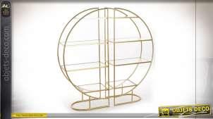 Etagère circulaire style rétro chic en verre et métal finition doré, 64cm