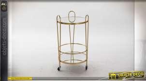 Table auxiliaire ronde en miroir et métal finition dorée sur roulettes esprit rétro,74cm