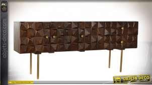 Console en bois de manguier finition naturel et doré, portes en relief style vintage, 75cm