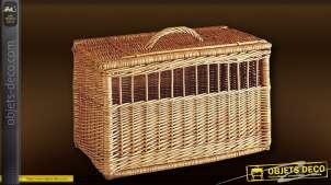 Caisse de transport pour chien ou chat en osier buff