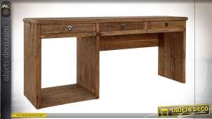 Bureau en bois de pin recyclé finition naturelle de style campagne rustique, 76cm